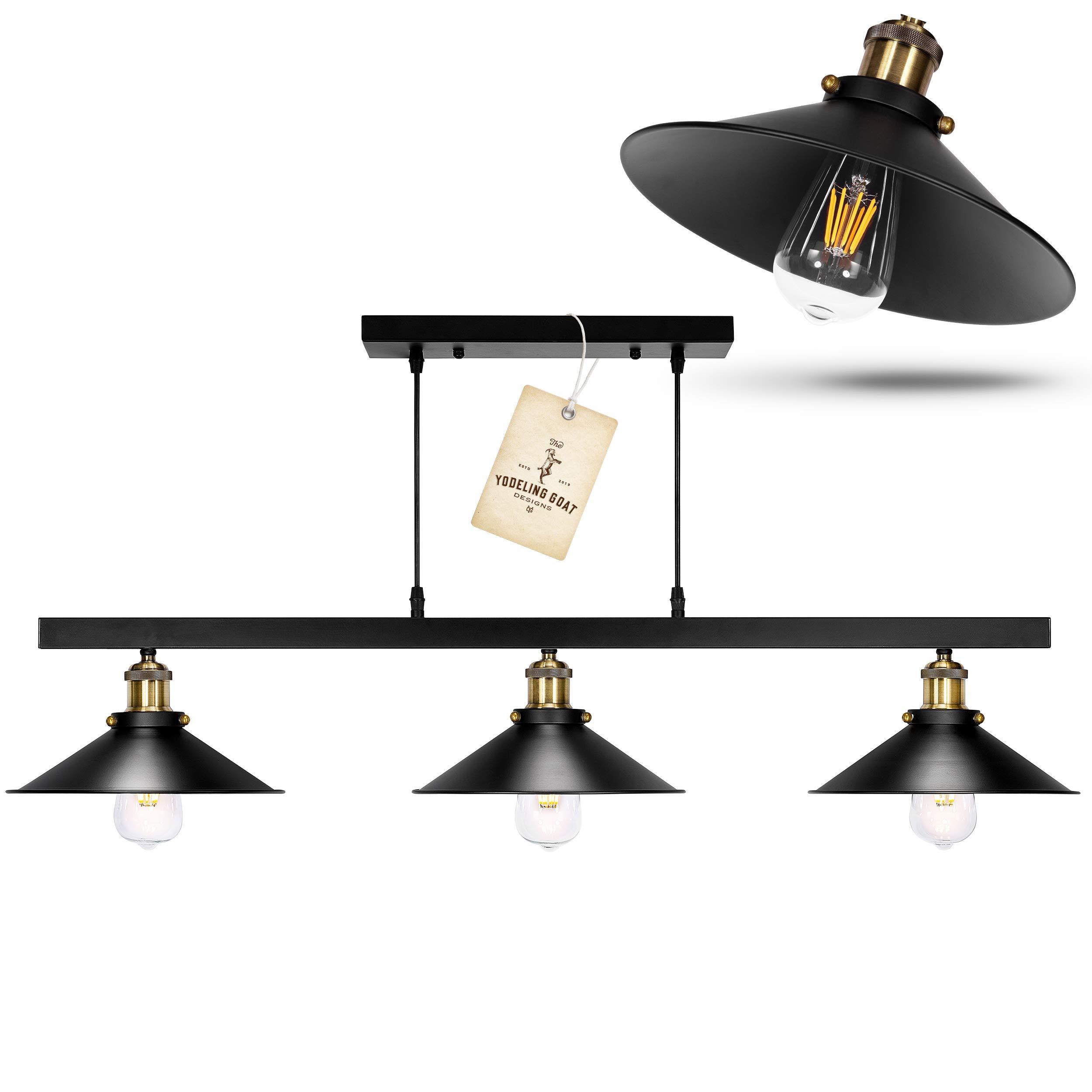 Black Rustic Chandelier - Hanging Light Fixture, Pool Table Light, Pendant Farmhouse Lighting for Kitchen Island, Dining Room Lighting Fixtures Hanging, Matte Black & Bronze Farmhouse Chandelier