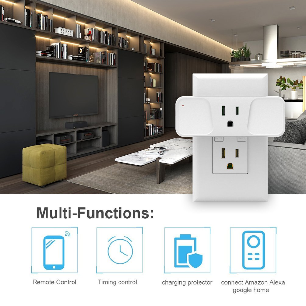 Wi-Fi Smart Plug, Astarry Mini Outlets Smart Socket No Hub Required Compatible with Alexa and Google Assistant USB Charger 5V 2.1A,support Android and IOS APP,15A by Astarry (Image #3)
