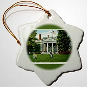 BYRON HOYLE Vintage Cities and States Postcards Home of Tomas Jefferson at Monticello Charlottesville Virginia Ornaments Snowflake Ornament Pandemic Xmas Decor Wedding Ornament Holiday Present