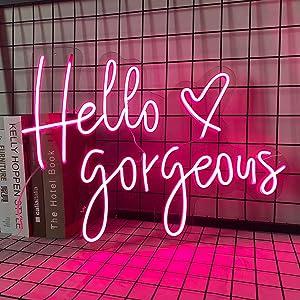 FARNEW Hello Gorgeous Neon Sign Light Wall Art Gifts,Neon Sign Wall Art,Neon Sign Wall Decorations Bar Pub Club Rave Apartment Home Decor Party Christmas Decor (Pink-Heart)