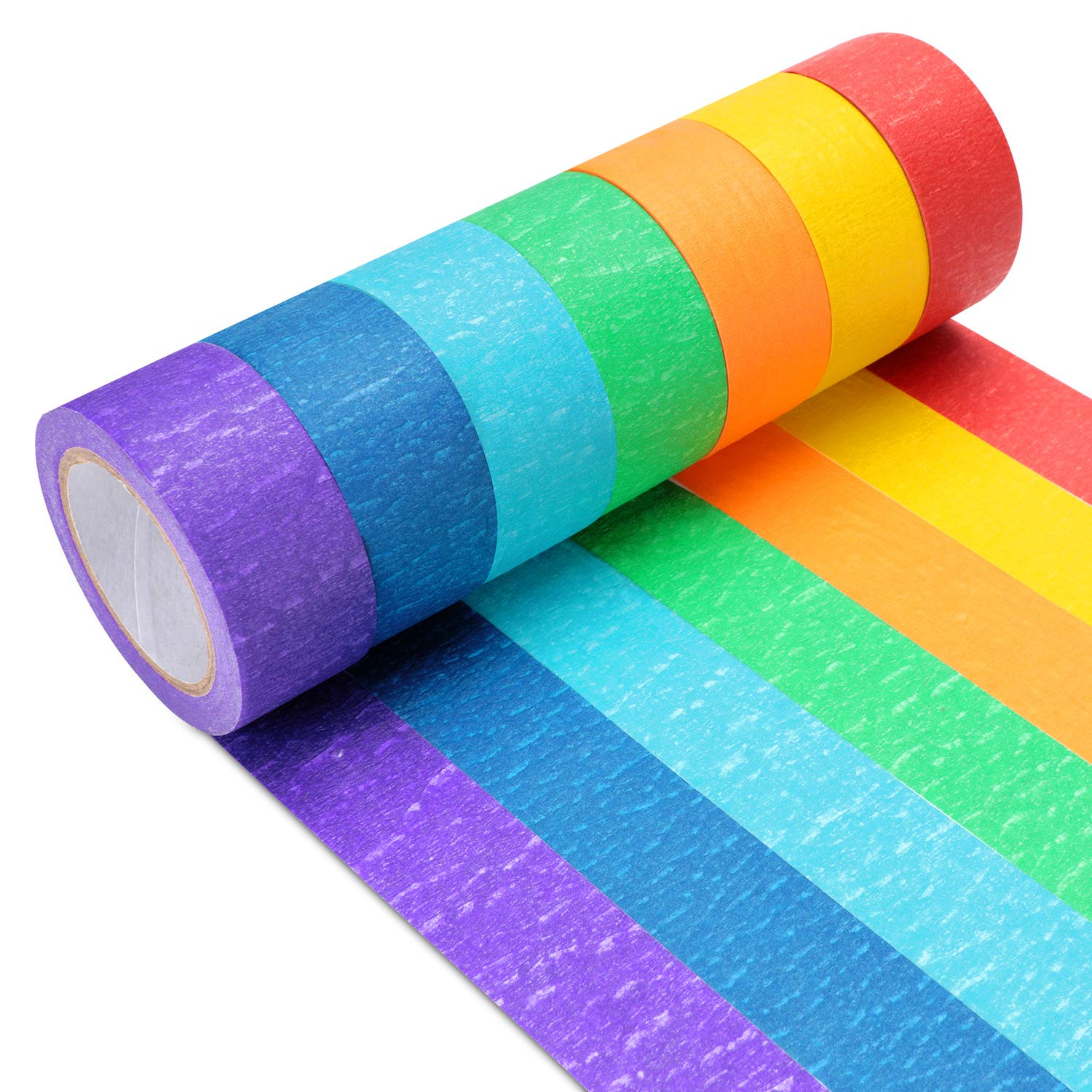 40 Colors Boao 40 Rolls Colorful Washi Tapes Decorative Masking Tapes Board Line Rainbow Tape Rolls for Arts Crafts