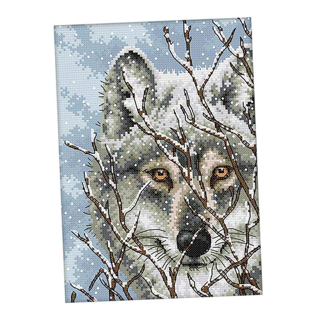 DIY Needlework For Home Decoration 11CT 27 x 39cm non-brand Sharplace DIY Stamped Counted Cross Stitch Set Embroidery Kit Beautiful Snow Wolf Pattern Cross-Stitching