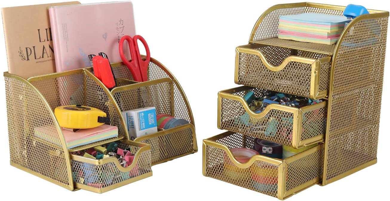 PAG Office Supplies Mesh Desk Organizer Set Pencil Holder Pen Cup Accessories Storage Caddy with Drawer for Women and Girls, Gold