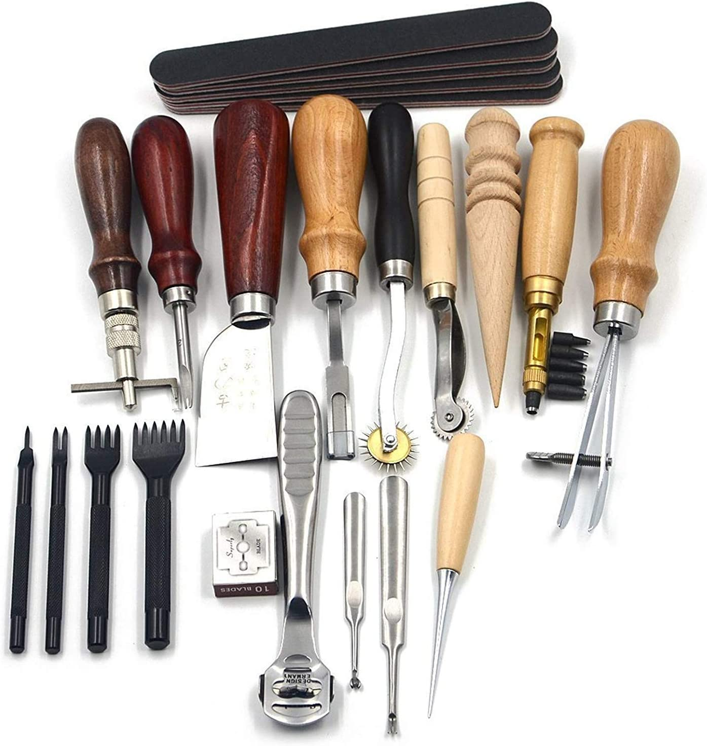 Holzsammlung 19 Piezas de Herramientas de Coser de Cuero Artesanía de Cuero Kit de Costura Manual de Bricolaje #04