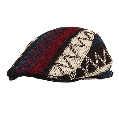 ebc5b4ba231 WITHMOONS Aztec Tribal Pattern Knitted Newsboy Hat Flat Cap LD3030 (Black)