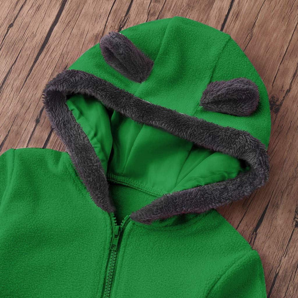 SANFASHION Grenouill/ères Capuche B/éb/é Fille Gar/çon,V/êtements Combinaisons Neige Dors Bien Naissance Manches Longues Dessin Ours Velours Sweat Manteau Jumpsuit Barboteuse Ensembles Pyjama 3-24 Mois