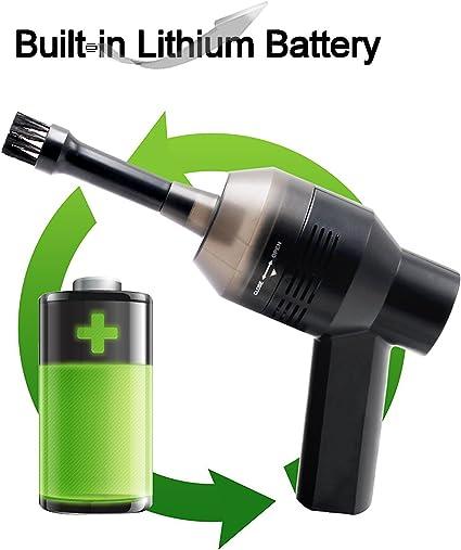 Mini aspiradora USB de escritorio, con cepillo, para limpiar el polvo, migas de pan, residuos de papel, goma de borrar, ceniza de cigarrillos o para limpiar dispositivos de coche, color negro: Amazon.es: