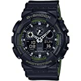 Men's Casio G-Shock Anti-Magnetic Black and Green Resin Watch GA100L-1A