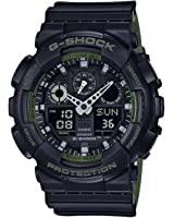 Men's Casio G-Shock Anti-Magnetic Black and Green Resin Watch GA100L-1A