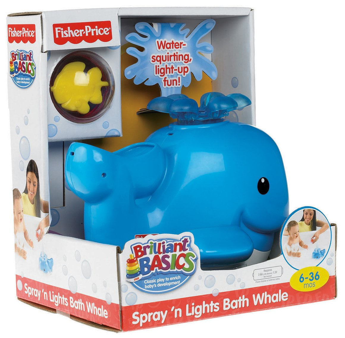 Fisher-Price Brilliant Basics Spray \'N Lights Bath Whale, Animals ...