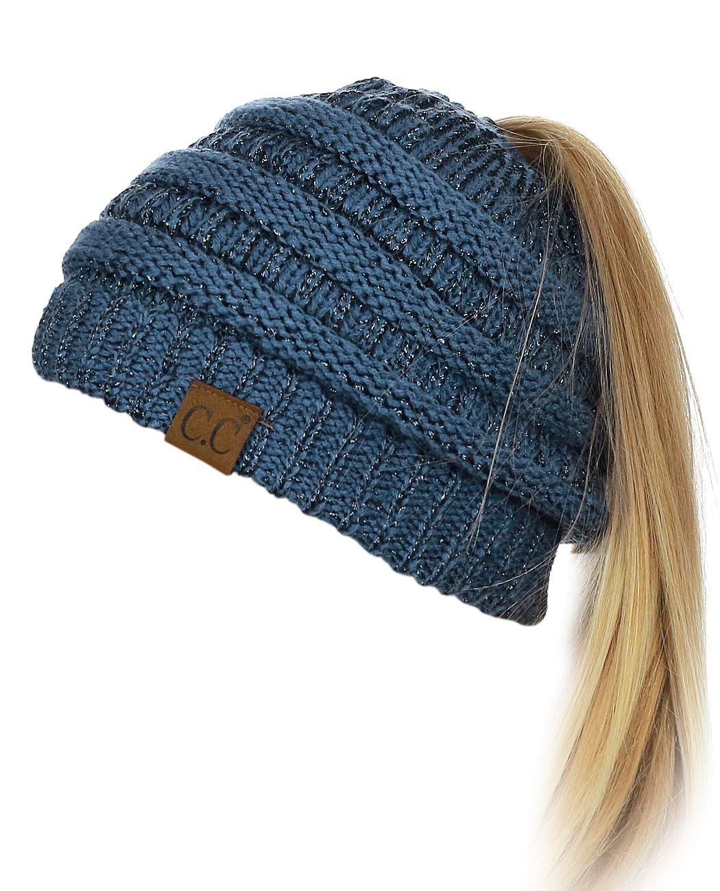 8edeb98dd29e94 Galleon - C.C BeanieTail Soft Stretch Cable Knit Messy High Bun Ponytail  Beanie Hat, Dark Denim Metallic