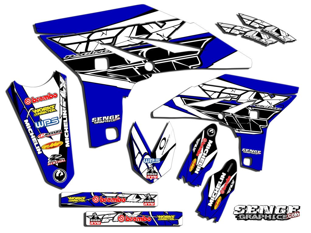 Compatible with Yamaha 2000-2007 TTR 125, Fly Racing Blue Graphics Kit