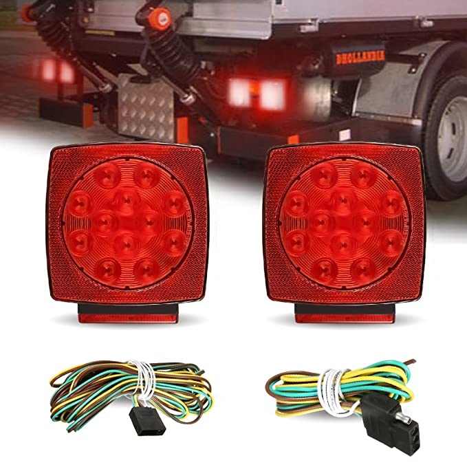 AMBOTHER 2x 12-LED Submersible Trailer Tail Light Kit Stop Turn Signal Brake Marker Lights Waterproof Universal Mount Combination for RV Boat Truck Trailer Red DC 12V (Pack of 2)