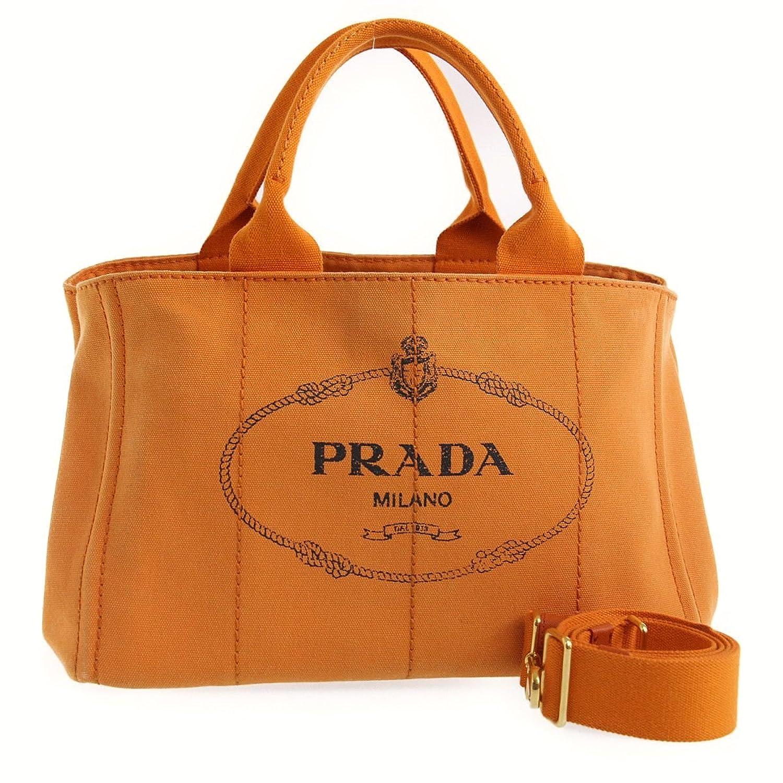 (プラダ) PRADA カナパ 2WAYバッグ トートバッグ/ショルダーバッグ オレンジ B07F297Z3H