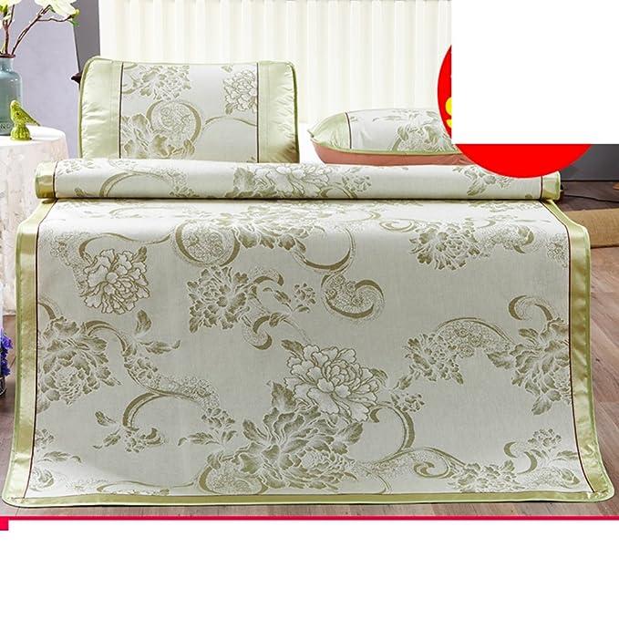 Tapis en soie de glace d'été trois pièces/imprimez un tapis pliable plus épais(1mat +2taie d'oreiller)-M Queen2