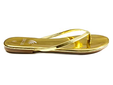 da9360a765adfb LONGCLASS Elegante Flip Flops Damen Gold GOLDLINE Goldene Sandalen Damen  flach