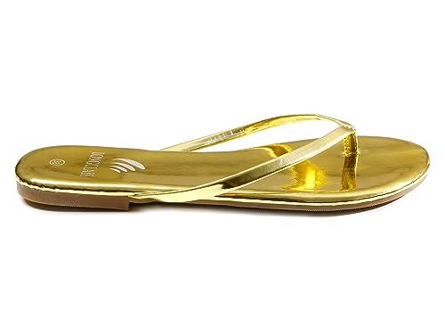 Weicher Flops Elegante Mit Gold Flip Locker Goldene Sohle Damen Goldline Gefüllter Leicht Sandalen Longclass FlachZehentrenner Zum R35Aj4L
