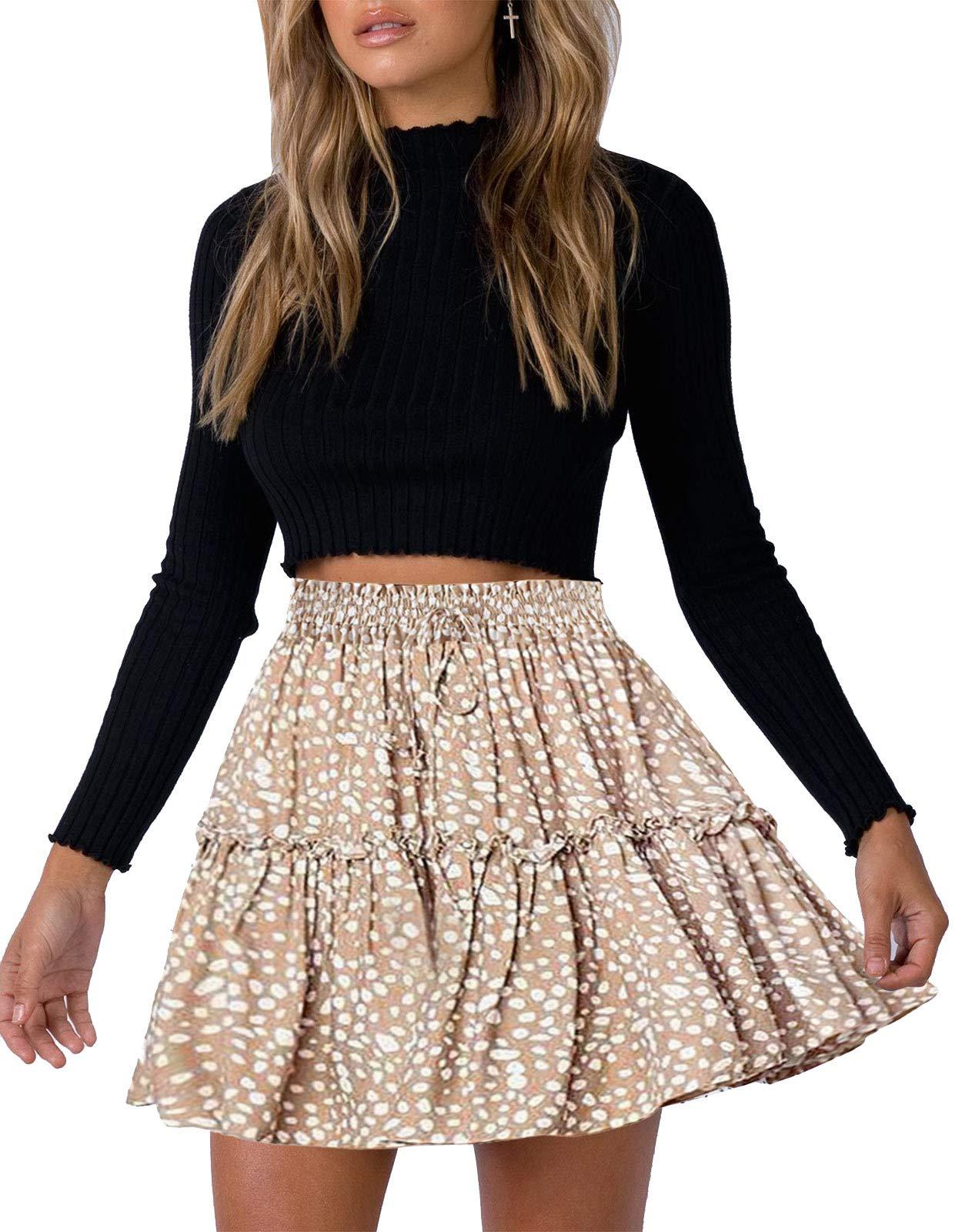 Women Mini Skirt High Waist Drawstring Ruffle Flared Swing Pleated A-Line Skirts