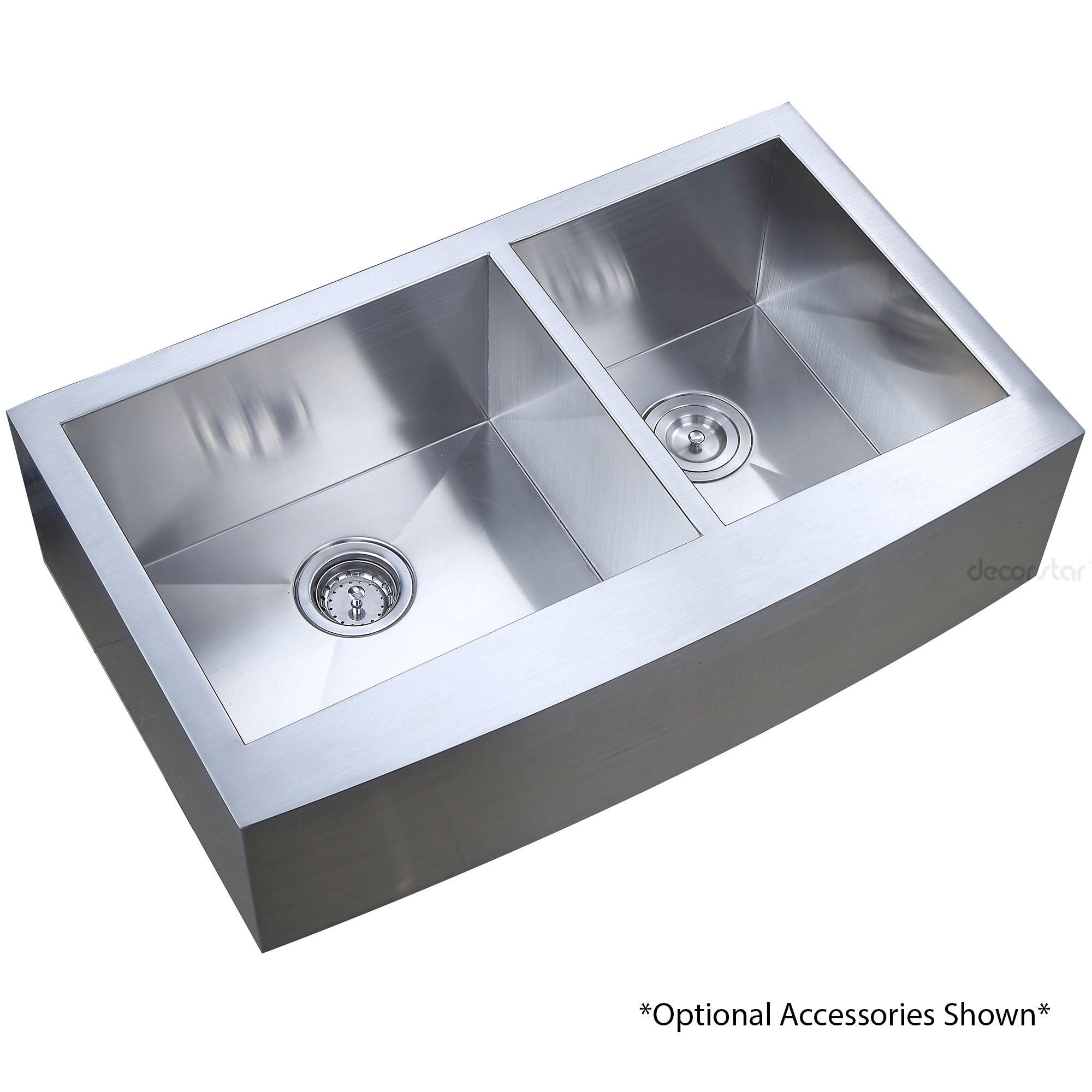Decor Star F-002-Z 33 Inch x 20 Inch Farmhouse Apron 60/40 Offset Double Bowl 16 Gauge Stainless Steel Luxury Handmade Kitchen Sink cUPC Zero Radius by Décor Star (Image #7)