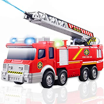 EPFamily Fire Truck Toddlers Toy with Extending Rescue Ladder Pull Back Construction Vehicles Toy for 3 Year Old Boys Girls