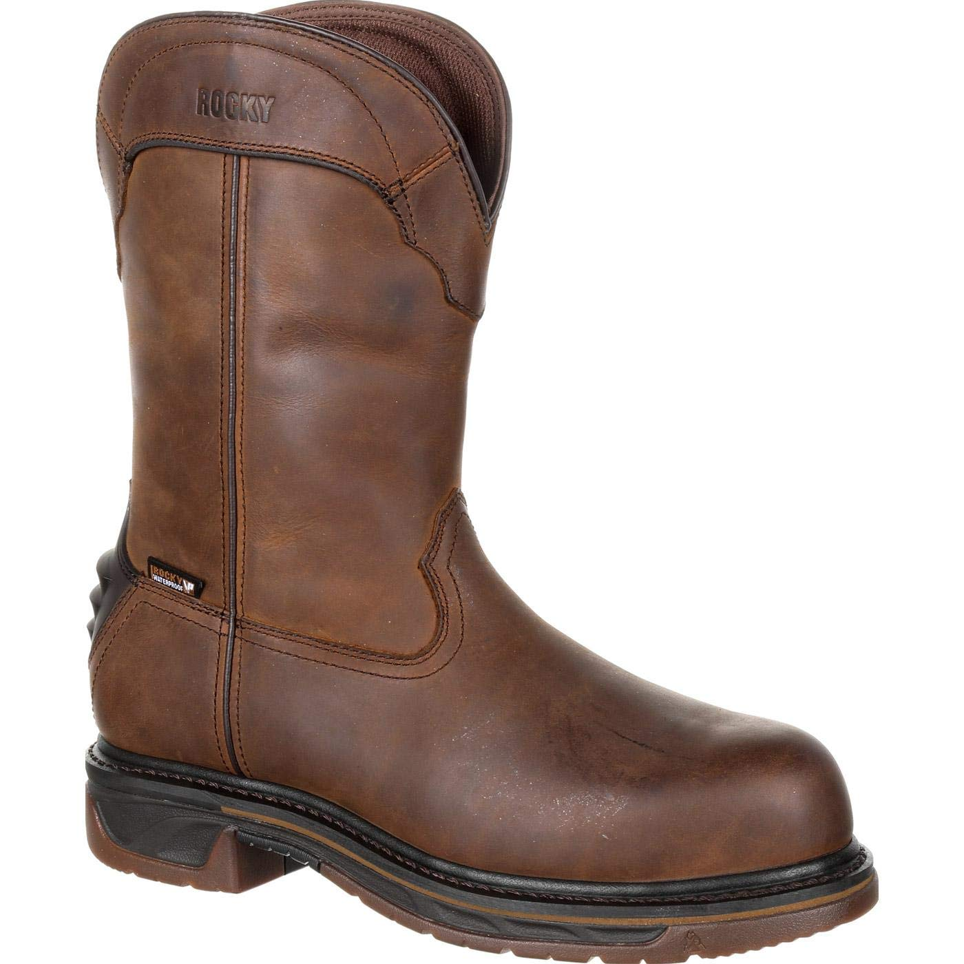 Rocky Men's Iron Skull Waterproof Western Boot Safety Toe Dark Brown 13 EE