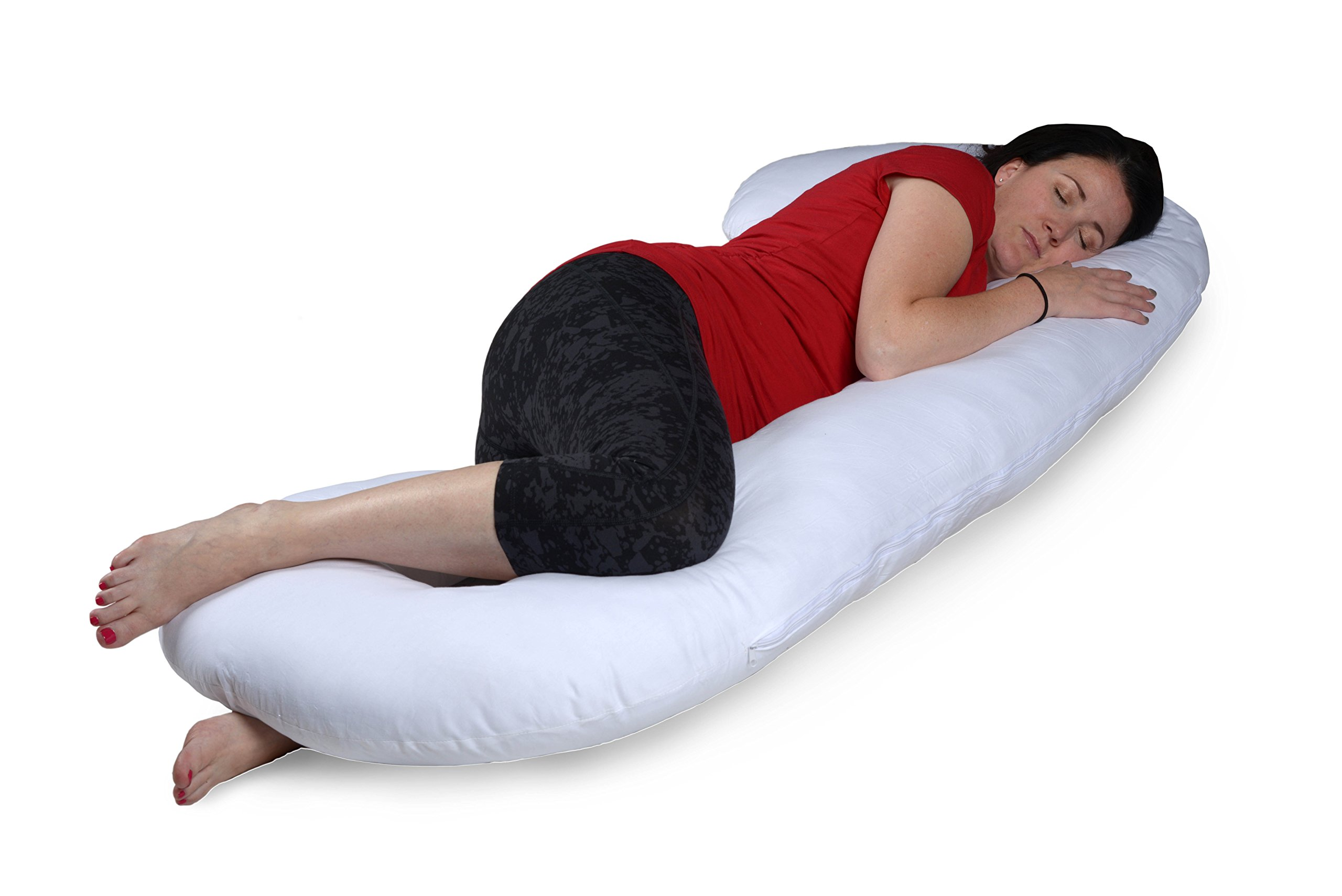 Versatile C-Shaped Full-Body Pregnancy Maternity Baby Nursing Pillow Cushion with Zippered Washable Cover Offering Belly, Arm, and Back Support While Lessening Pain and Discomfort