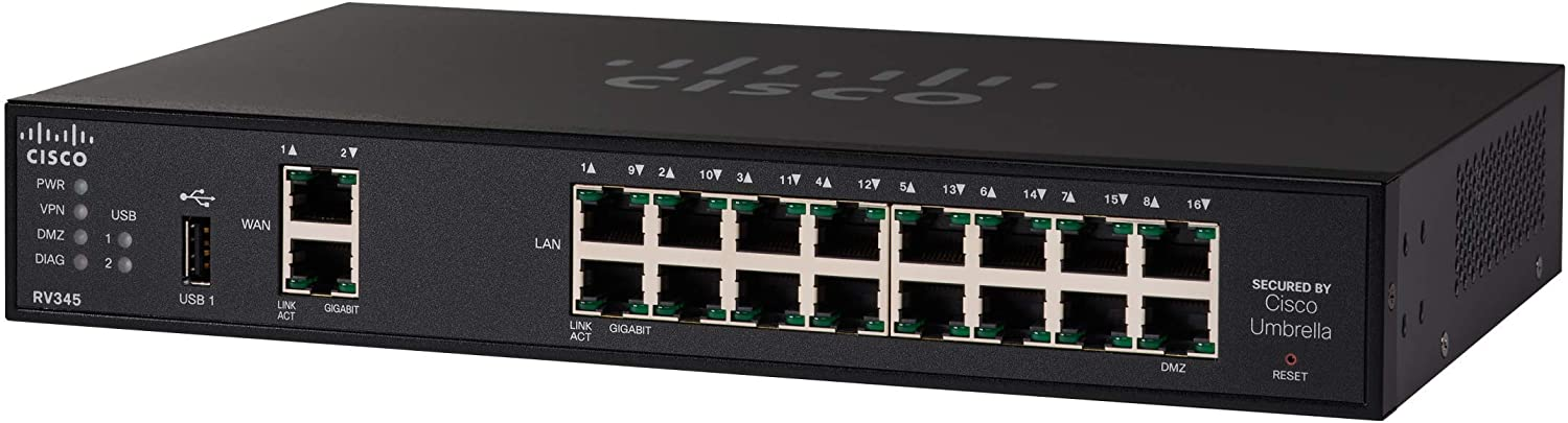 Cisco RV345 VPN Router with 16 Gigabit Ethernet (GbE) Ports plus Dual WAN, Limited Lifetime Protection (RV345-K9-NA),Black