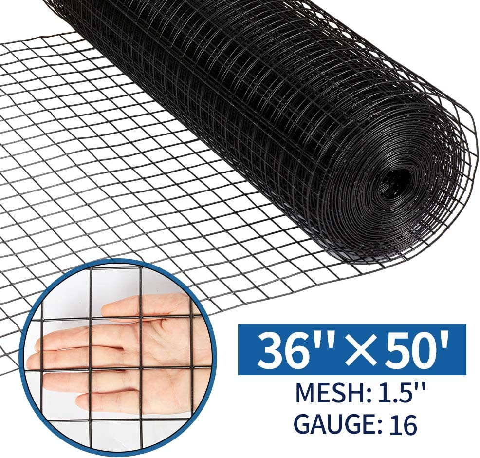 Amagabeli 36inch x 50ft Hardware Cloth 1.5 inch Square 16 Gauge Black Vinyl Coated Welded Fence Mesh Roll for Home and Garden Fence and Pet Enclosures Protect Chickens Rabbits and Farmed Animals