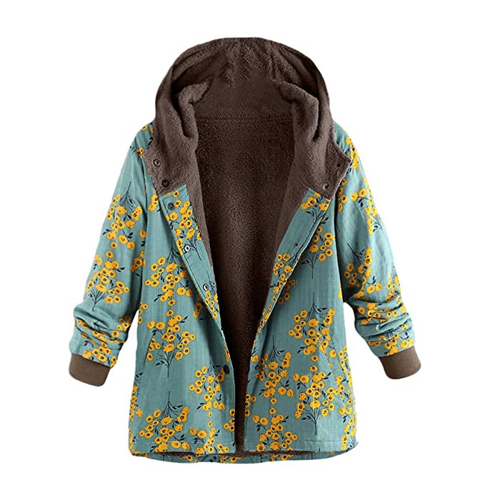 893e875cf62 Image Unavailable. Image not available for. Color  Womens Oversize Down  Jackets Duseedik Winter Warm Outwear Floral Print Hooded Overcoat Pockets  Vintage ...