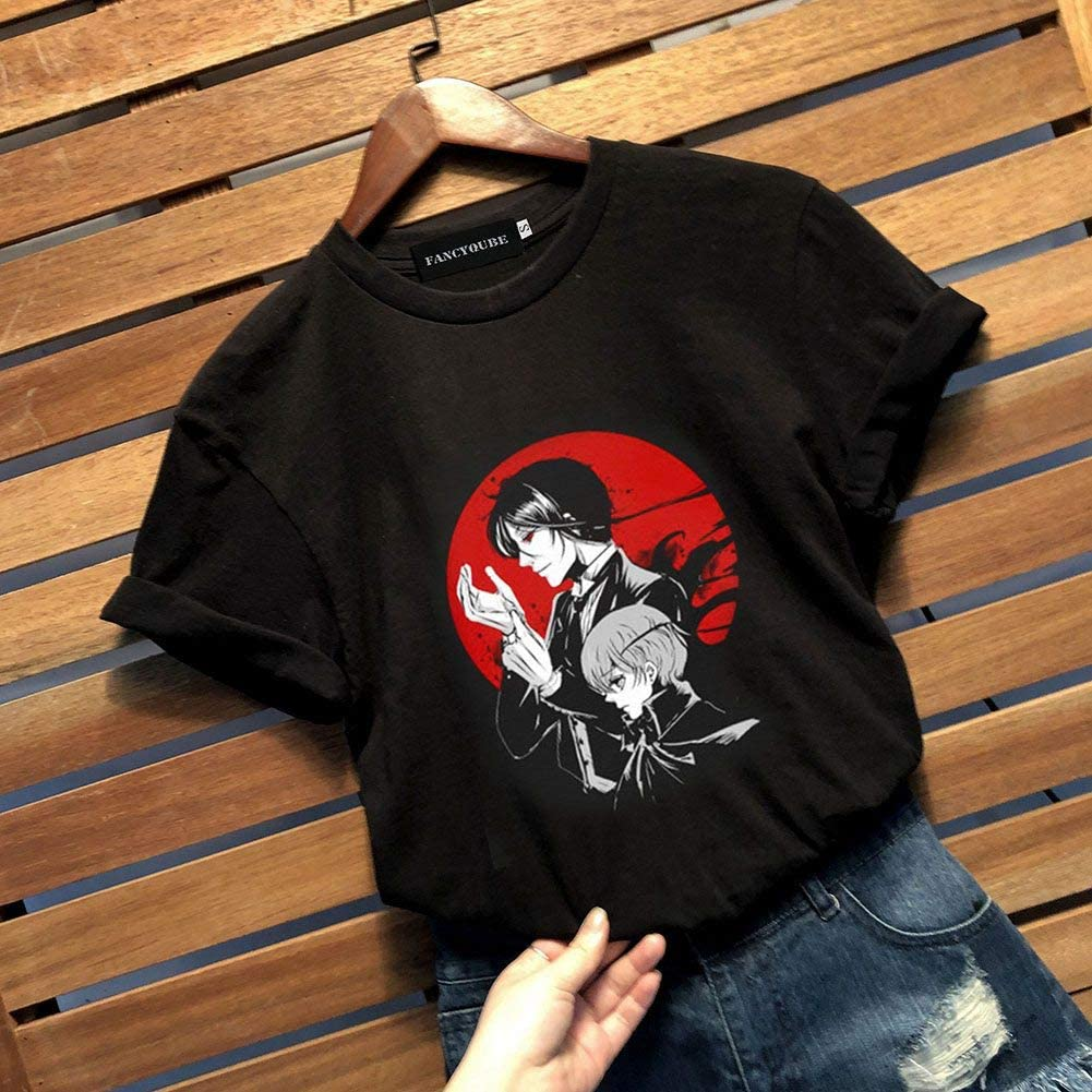 Bowinr Black Butler T-Shirt Japanese Anime Round Neck Short Sleeve T-Shirts for Lovers Men and Women