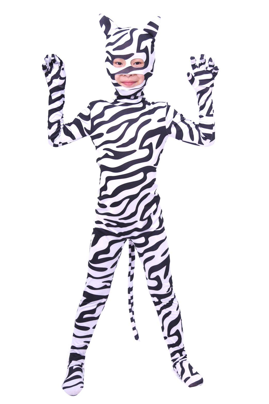 - 7140 2BQrW0IL - Verhero Adult Kids Zebra Zentai Suit Halloween Cosplay Spandex Animal Costume
