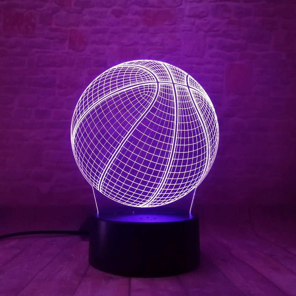 Lámpara de baloncesto 3d bola niño dormitorio decoración luz ...