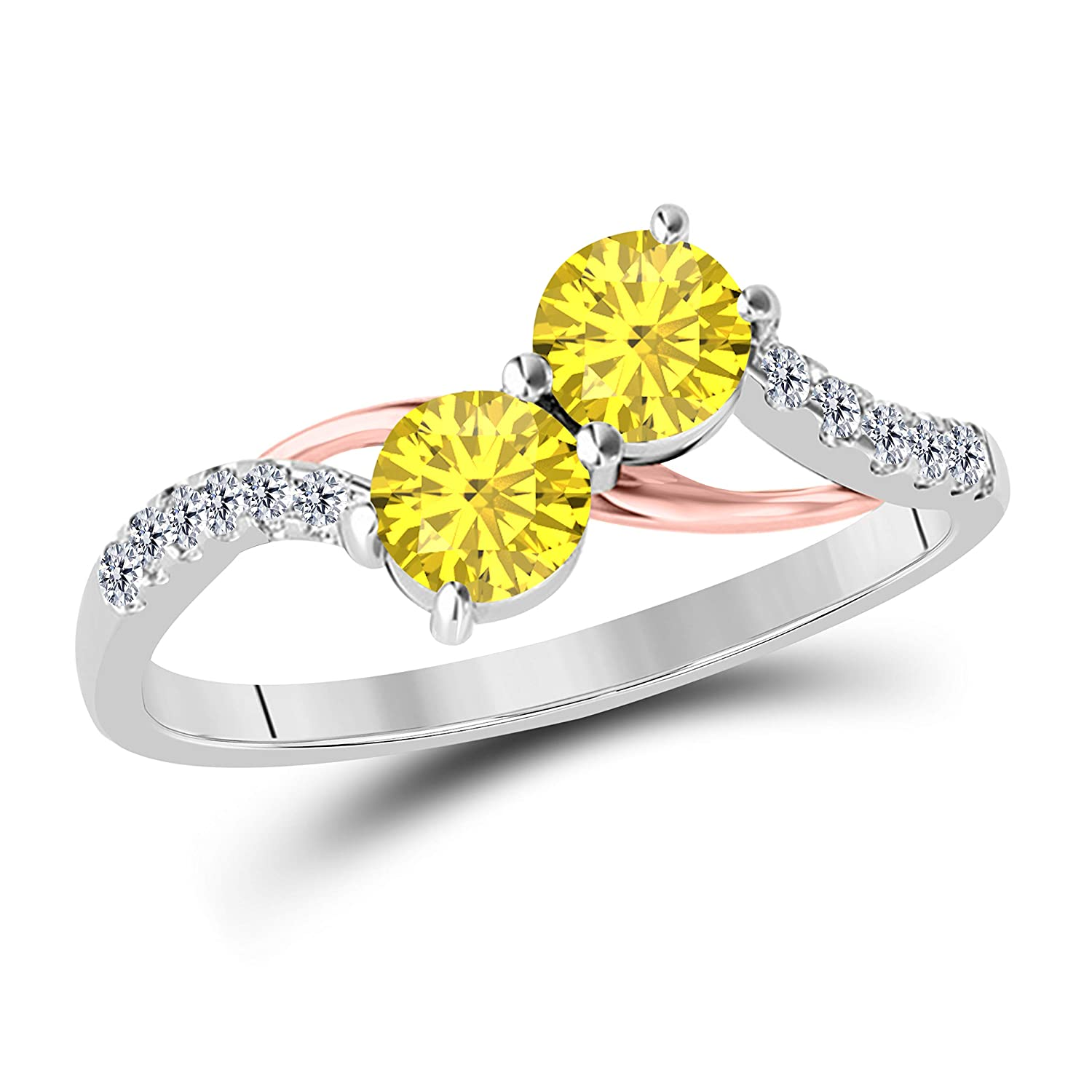 14k Two Tone Gold Over 925 Sterling Silver Two Stone Yellow Sapphire and White Cubic Zirconia Engagement Couple Ring 1.00 Ct