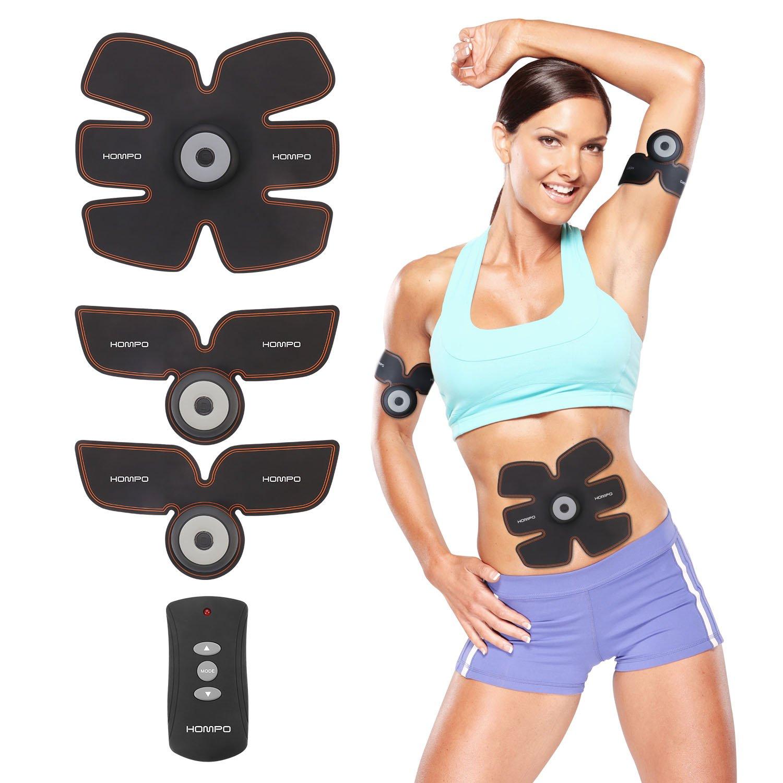 HOMPO Electroestimulador Abdominal Electroestimulador Muscular Abdominales con USB Cargador y 25 Niveles de Intensidad para Abdomen, Brazo, Piernas, ...