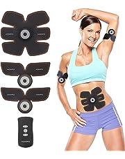 HOMPO Abs Muscle Toner, EMS Muscle Trainer Stimulator Belt Abdominal Toning Belt Body Fitness Slimming Equipment Machine Apparatus for Men & Women