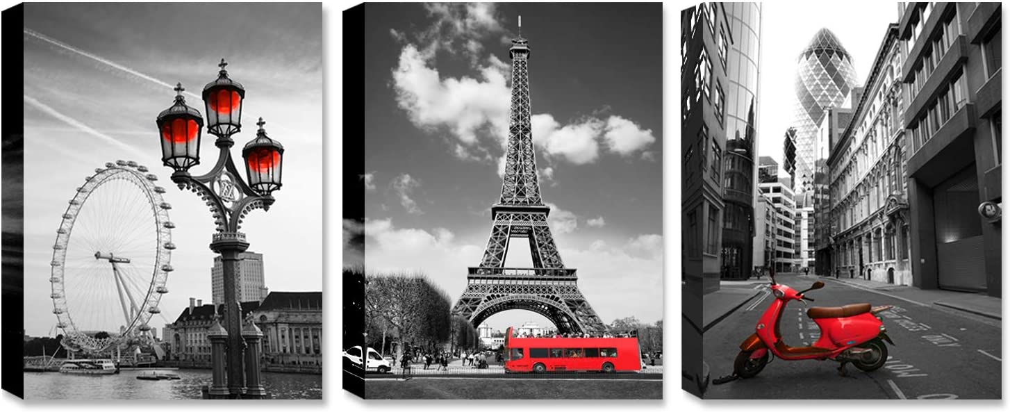 Black and white red city landscape- Paris Eiffel Tower Wall Art Decor Canvas Print red motorcycle street view and ferris wheel Painting Modern Home Decoration 12