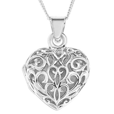 Ornami ladies silver filigree heart locket with 46 cm curb sterling ornami ladies silver filigree heart locket with 46 cm curb sterling silver chain mozeypictures Image collections