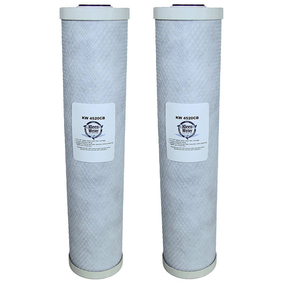 KleenWater Activated Carbon Block Water Filters 2 4.5 x 20 Inch Brand Replacement Cartridges
