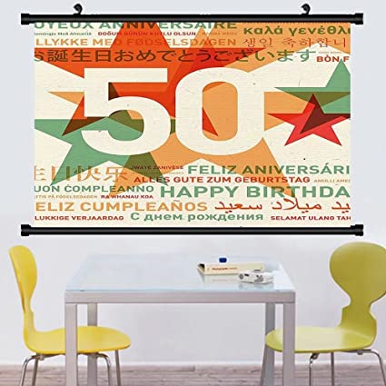 Gzhihine Wall Scroll 50th Birthday Decorations Hilarious Catchphrase Age Fifthy Feeling Young Humorous Hanging Red