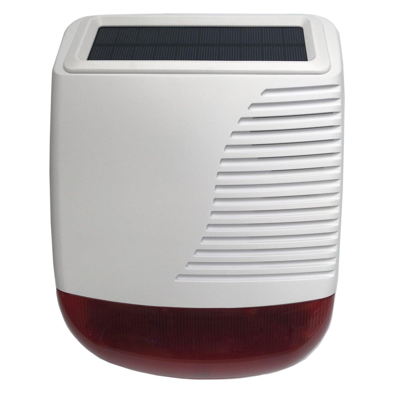 JC 433 MHz - Sirena estroboscópica inalámbrica al aire libre, funciona con energía solar 110 dB para Wi-Fi GSM sistema de alarma de seguridad para el hogar y negocio