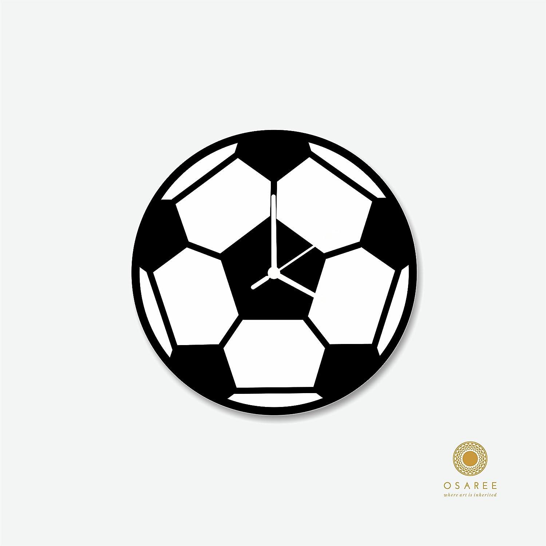 De balón de fútbol de reloj de pared, diseño de flores dos en ...
