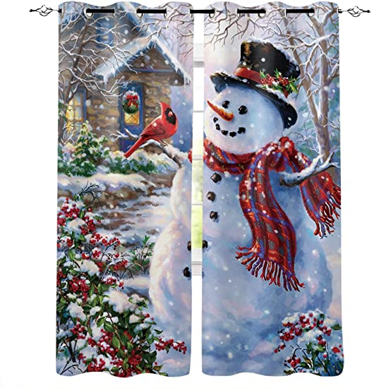 Libaoge Draperies Curtains Panels for Bedroom Merry Christmas Happy Snowman and Cardinals Window Curtains for Solding Glass Door – Set of 2 Panels, 104 W by 90 L