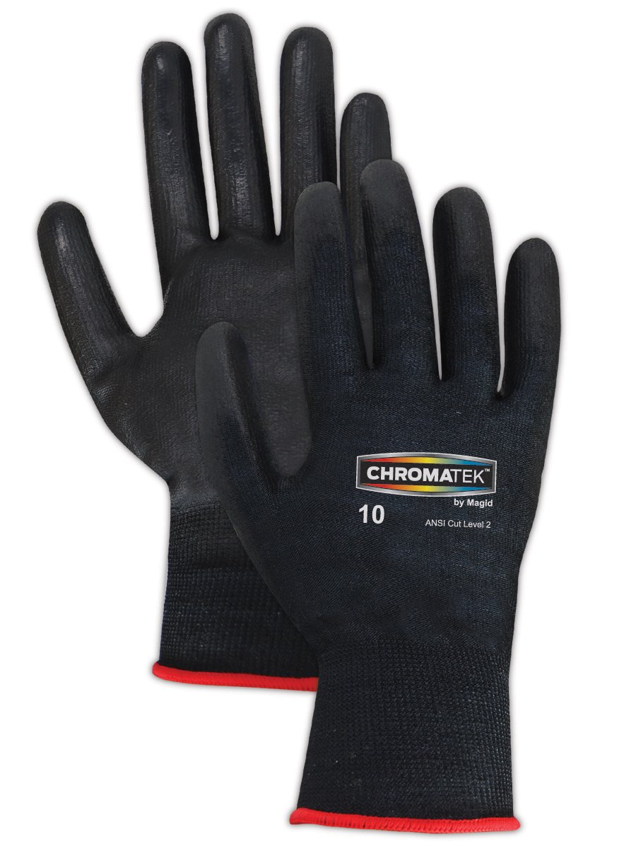 Magid CT500 ChromaTek HPPE Polyurethane Palm Coated Glove with Knit Wrist Cuff, Work, Size 9, Black (Case of 12) by Magid Glove & Safety B00BAZUTIW