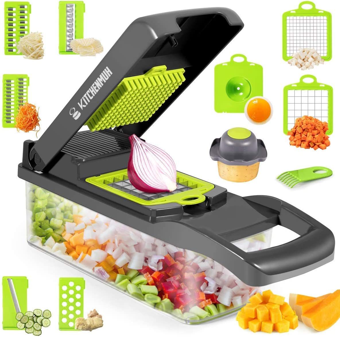Amazon.com: Vegetable Choppers, Onion Chopper, 12 in 1 Vegetable Cutter,  Pro Slicer Dicer, Cutter, Manual Slicer, Mandolin Chopper with Container  (Grey+White): Kitchen & Dining