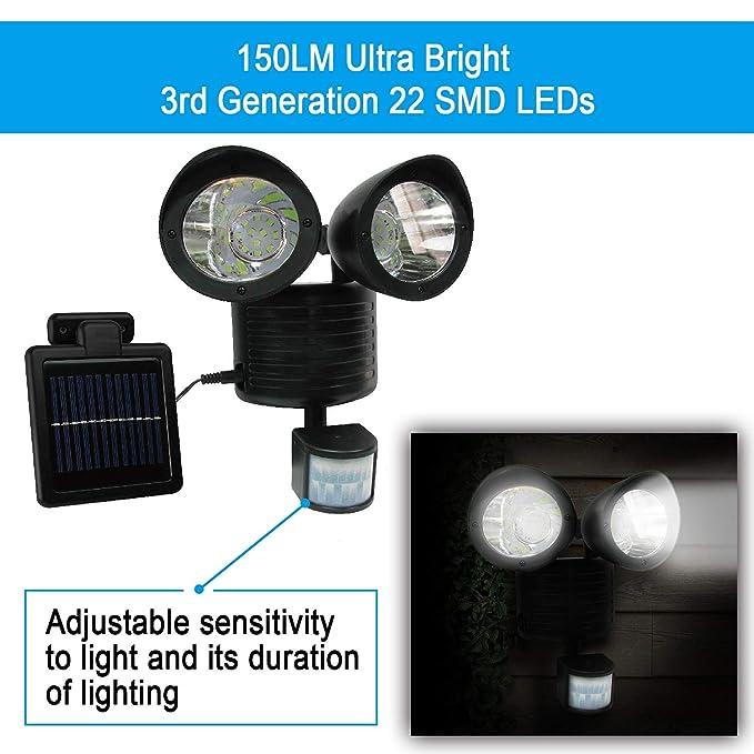 22 LED Motion Sensor Solar Panel Twin Spot Light Garden Security Floodlight Lamp