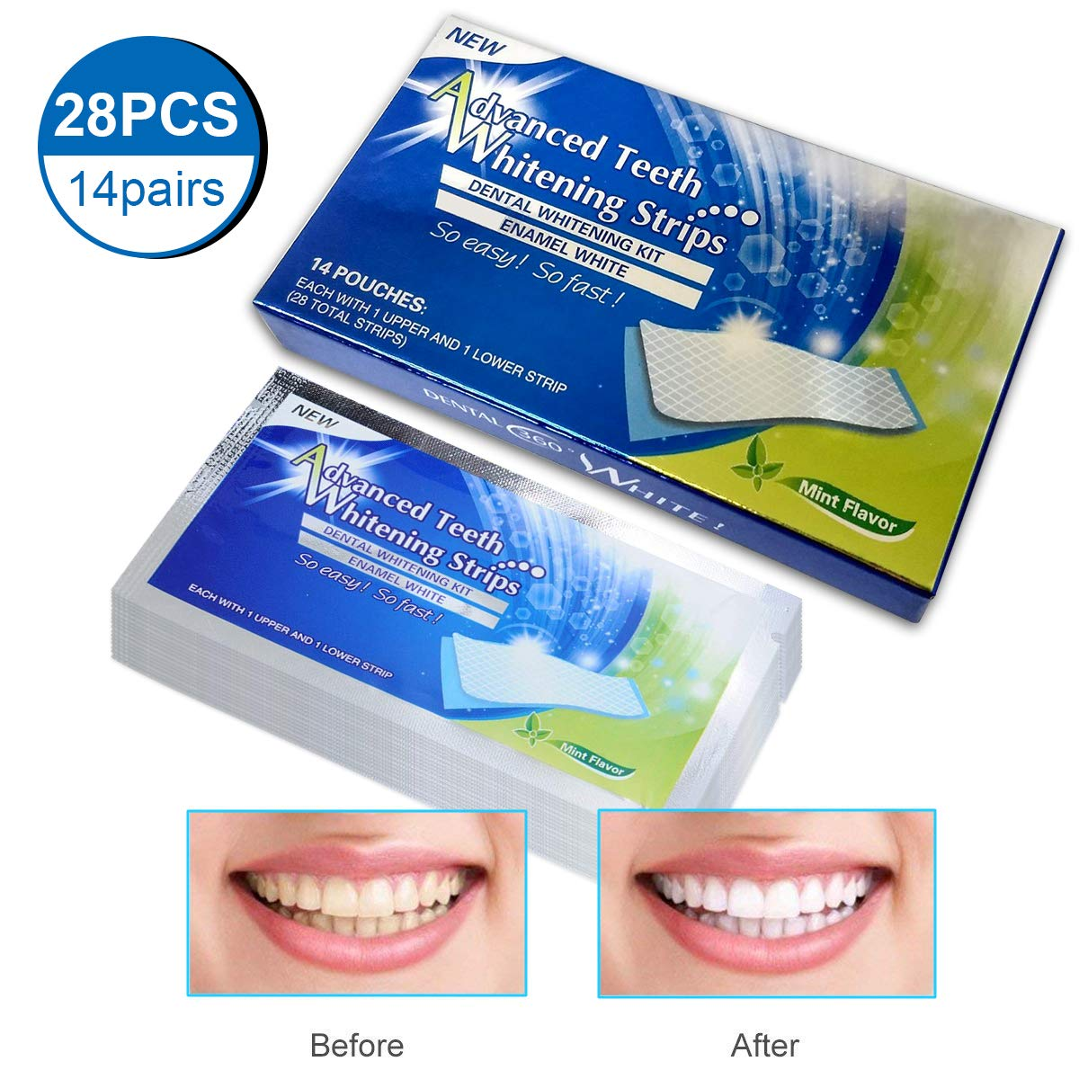 Teeth Whitening Strip, Dental Care Kits, iFanze Elastic Advanced Tooth Whitening Gel Whitestrips Bleaching System Cleaning Teeth 14 x 2pcs