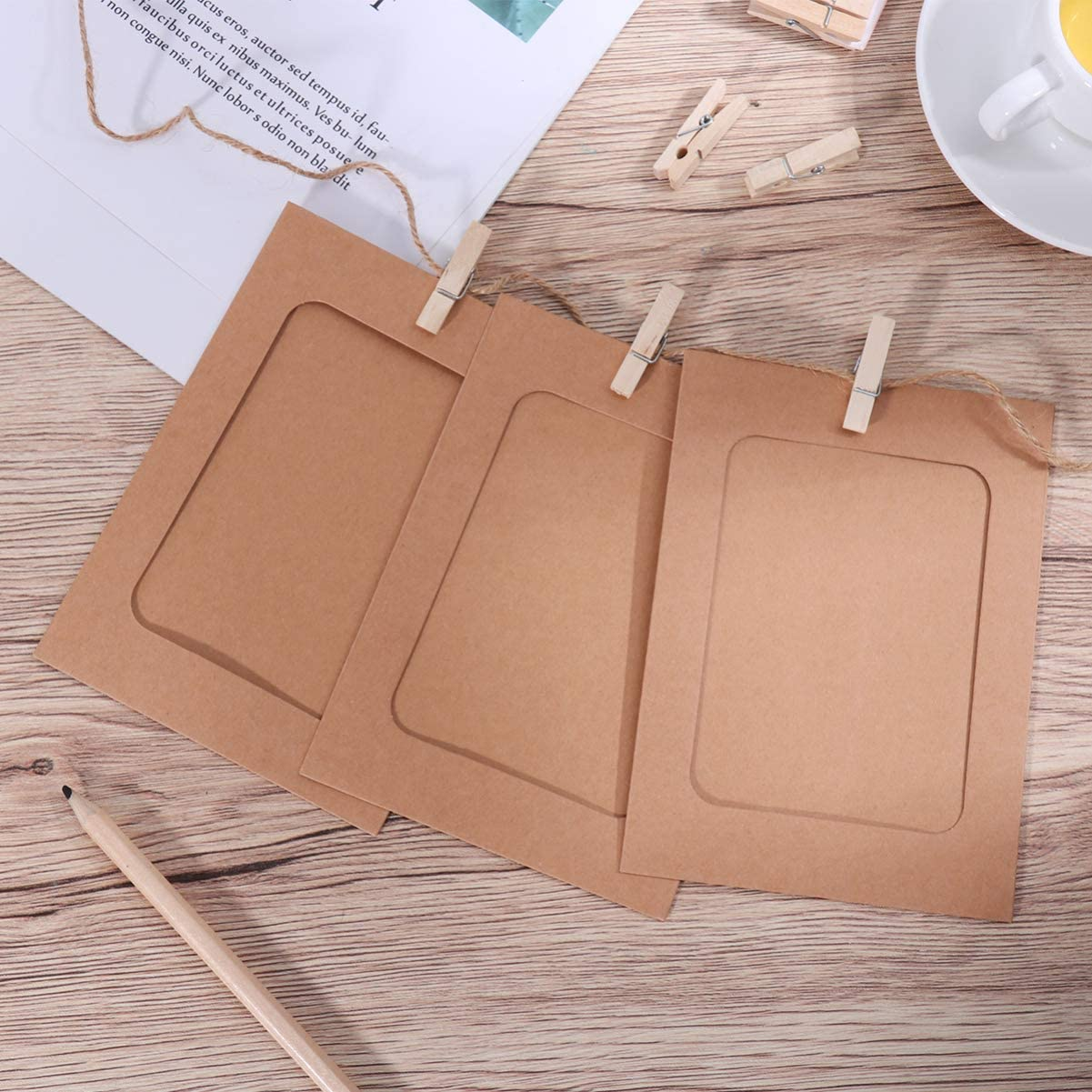 Kraft Paper Photo Frames 4x6in 30pcs Picture Frames Multi Photo Wall Decoration with 30 Clips 3 Ropes
