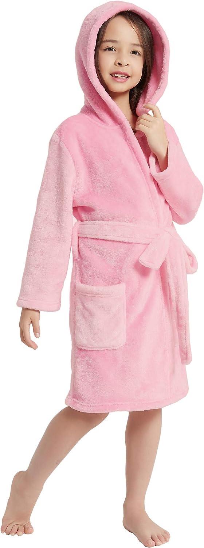 V.&GRIN Boys Girls Fleece Bathrobe, Hooded Toddler Soft Fuzzy Robe for Kids 3-12 Years: Clothing