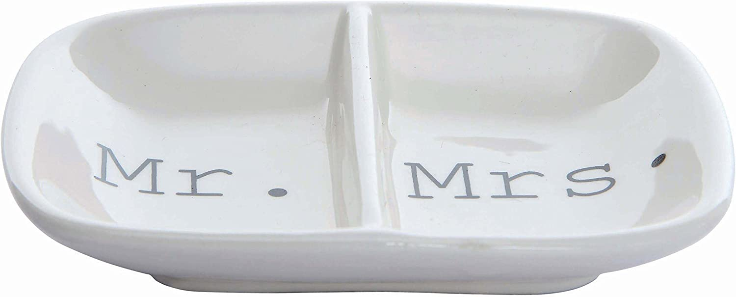 "Creative Co-Op Ceramic ""Mr. & Mrs."" Two Section Dish, White: Home & Kitchen"