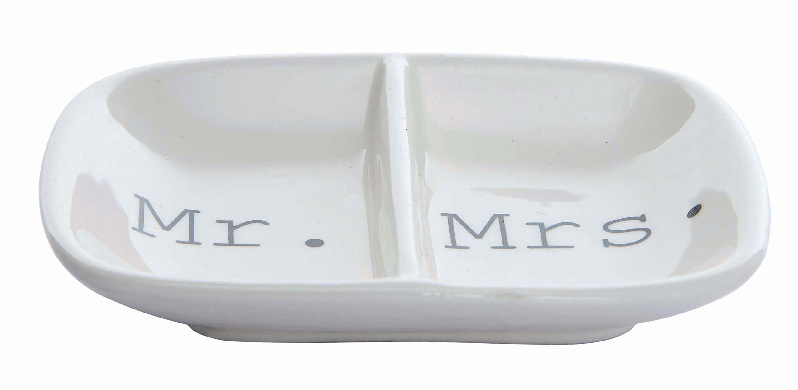 Creative Co-Op Ceramic ''Mr. & Mrs.'' Two Section Dish, White by Creative Co-op (Image #1)